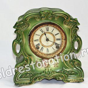 Старинные фарфоровые часы Ansonia